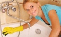 Bells Removals Cleaning service with lady cleaning bath