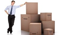 Man with boxes for moving office